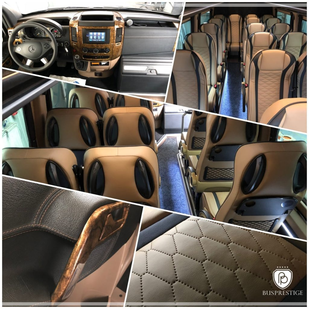 Bus Mercedes-Benz Sprinter 519 in tourist version. Seat configuration 19 passenger and driver seat and crew seat. Luxury details.