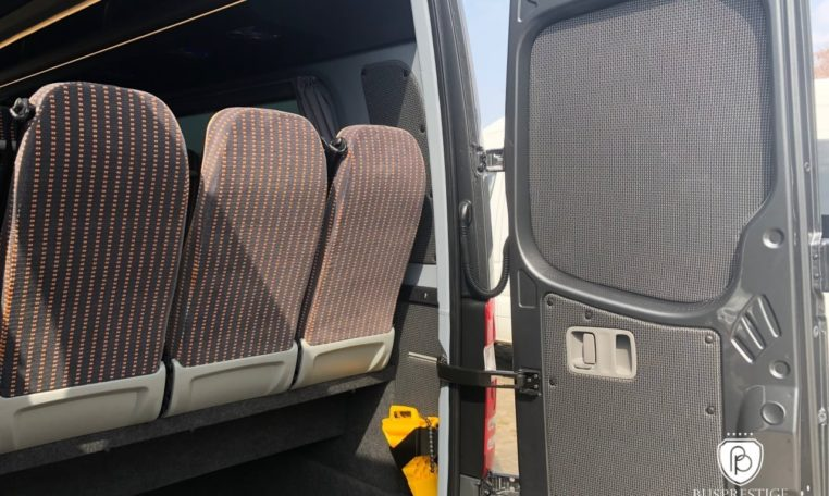 Rear luggage space in Sprinter bus